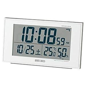 セイコー クロック 目覚まし時計 電波 デジタル カレンダー 快適度 温度 湿度 表示 白 パール 値札なし BC402W SEIKO