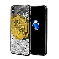 黄色のバラの花の壁アート IphoneXケース アイフォンX ケース 携帯カバー スマホケース アイホンX 衝撃吸収 おしゃれ TPU保護カバー 軽量