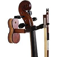 バイオリンハンガーバイオリン用ビオラ用バイオリンフック壁掛けタイプ - Bestsoundsバイオリン用フックハンガー楽器パーツホーム&スタジオウォールマウント用取り付けやすい(ボルト、ボウホルダー、取り付けスクリュー/ネジ)付き木製 (紅木の色)