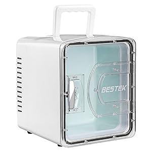 BESTEK 冷温庫 家庭 車載両用 ミニ冷蔵庫 として使用可能 2電源式 保温 保冷 小型でポータブル 8L ホワイト BTCR08