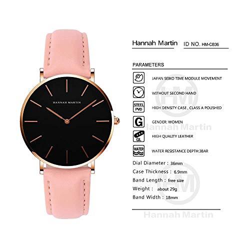 レディース 腕時計 Hannah Martin おしゃれ クラシック シンプル 女性 時計 ビジネス クォーツ watch for women (ブラック+ピンクバンド)