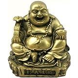Gold Tone Resin Happy Buddha Statue
