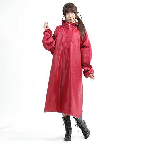 【AMARISE】レインコート (ポンチョ タイプ、袖つき) レインウェア ワインレッド(赤紫) 男女兼用 フリーサイズ