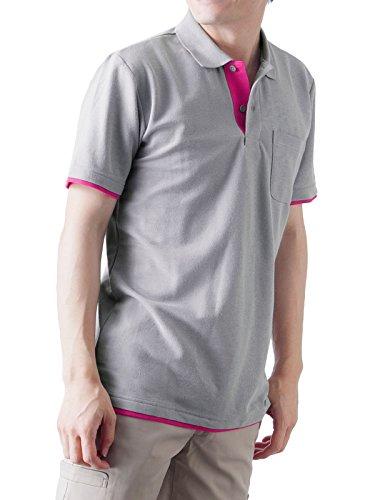 ティーシャツドットエスティーポロシャツ半袖レイヤード鹿の子ポケット付きUVカット5.8ozメンズグレー×ホットピンク3L