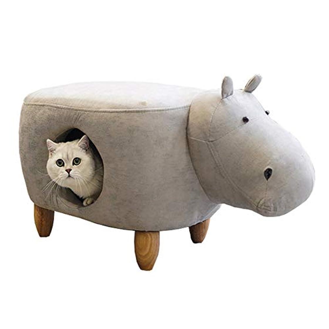 アナロジー凍結秘密のペットスツールベッド-半密閉型のカバの形の猫の家、無垢材の足首Puレザー収納スツール、頑丈、安定性が高く、厚いパッドで快適さを向上