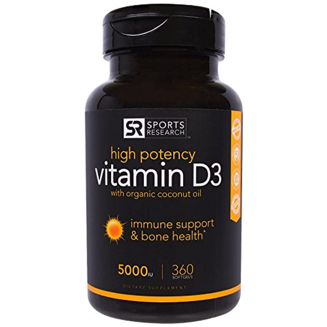時期尚早大臣エレクトロニックSports Research Vitamin D3 5000iu (High Potency) 360 Softgels; Enhanced with Organic Coconut Oil for Better Absorption...
