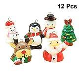 HEALIFTY 12個のクリスマスデコレーションクリスマスレジン雪だるまサンタクロースクリスマスツリーキャンディケインミニチュア装飾品ホームデコレーションDIYアクセサリー