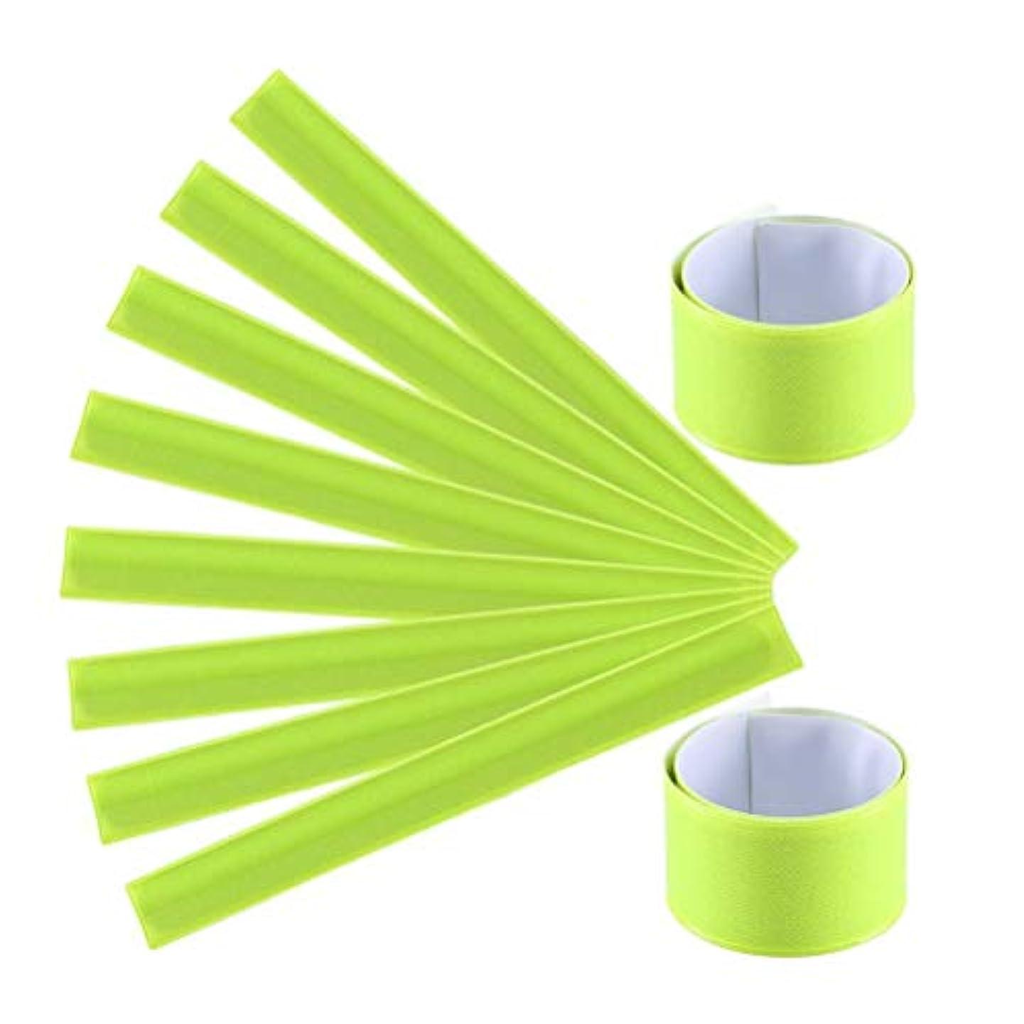 クモ知覚するシチリアLIOOBO 10個PVC手首バンドスラップバンドナイトランニング反射ブレスレットウォーキングハイキングジョギングのための安全なアームバンド(黄色)
