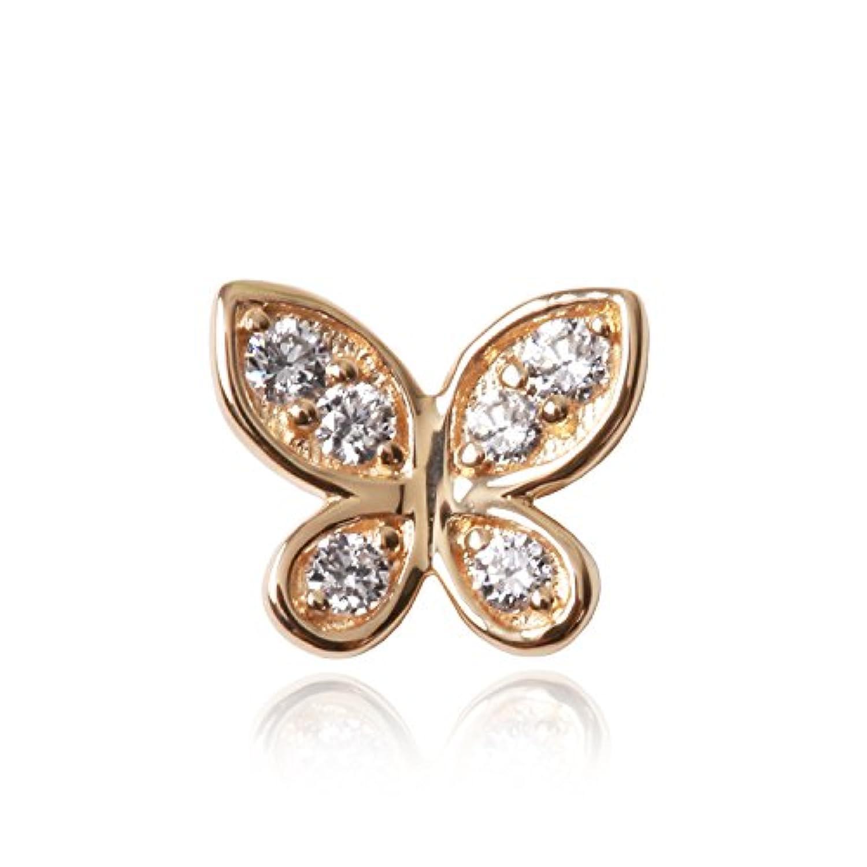 「バタフライ」ピアス (片耳) K18 イエローゴールド × 天然 ダイヤモンド 計 0.03ct Orefice(オレフィーチェ) YG