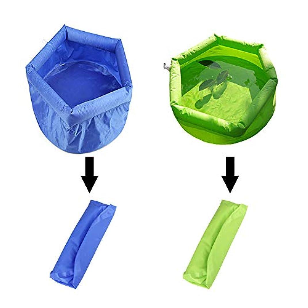 申込みシェルター厄介な折りたたみ 多目的 洗面器 洗濯 漏れ防止ウォーターコンテナ ポータブル 折りたたみ 膨らませて 超軽量 バケツ ツーピースセット 青と緑 アウトドア用 旅行 ピクニック