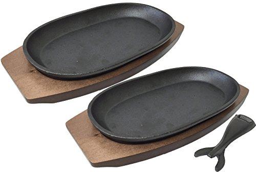 IH対応 スキレット 手造りの小判皿 2枚組 木台・ハンドル付 KT-2267