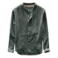 リネンシャツ Florrita メンズ 無地 綿 リネン 麻 Tシャツ イエロー ネイビー グリーン カーキ グレー 大きいサイズ 長袖カットソー カジュアル バンドカラー ノーカラー ゆったり お兄系 上着 おしゃれ 冷房対策 アウトドア