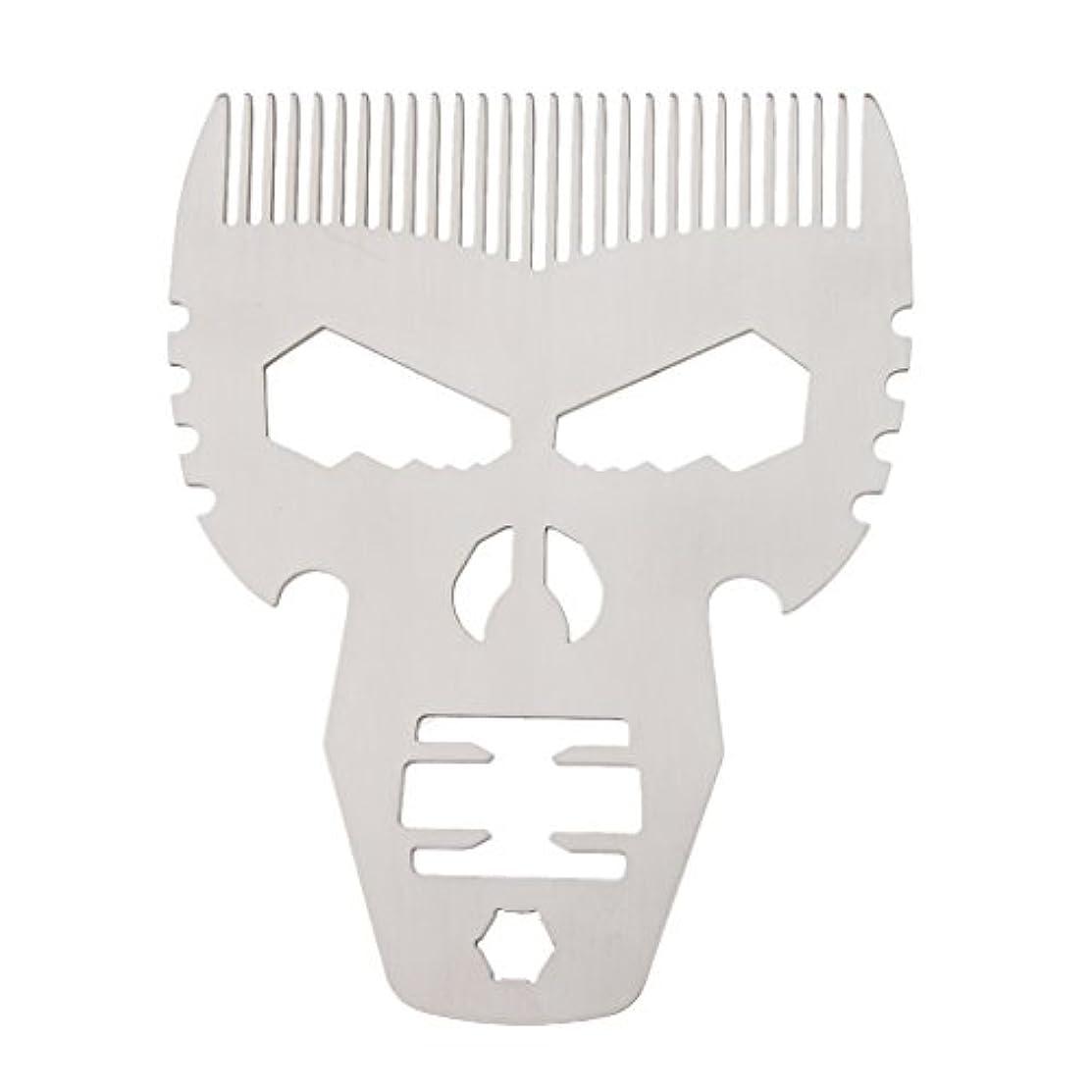 ジュラシックパーク大通り無男性シルバーのためのスタイリングスタイルファッションステンレススチールひげの櫛の口髭