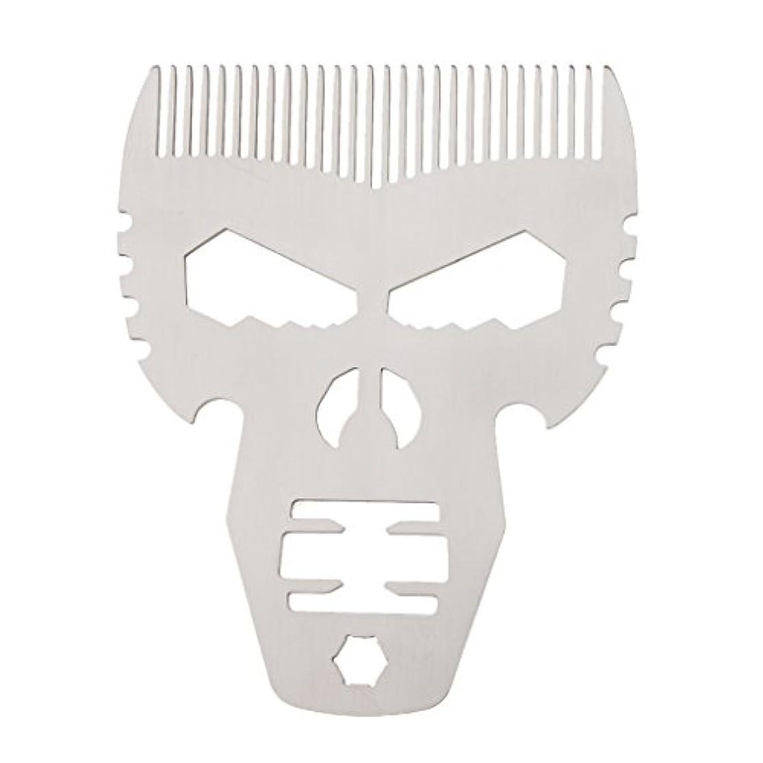 業界エレクトロニックスキャン男性シルバーのためのスタイリングスタイルファッションステンレススチールひげの櫛の口髭