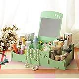 スマイリー木製クリエイティブ収納ボックス手作りデスクトップミラー化粧品収納ボックス化粧品収納ボックス (Color : グリンー)