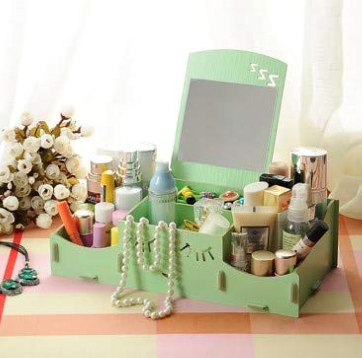 集める獲物足音スマイリー木製クリエイティブ収納ボックス手作りデスクトップミラー化粧品収納ボックス化粧品収納ボックス (Color : グリンー)