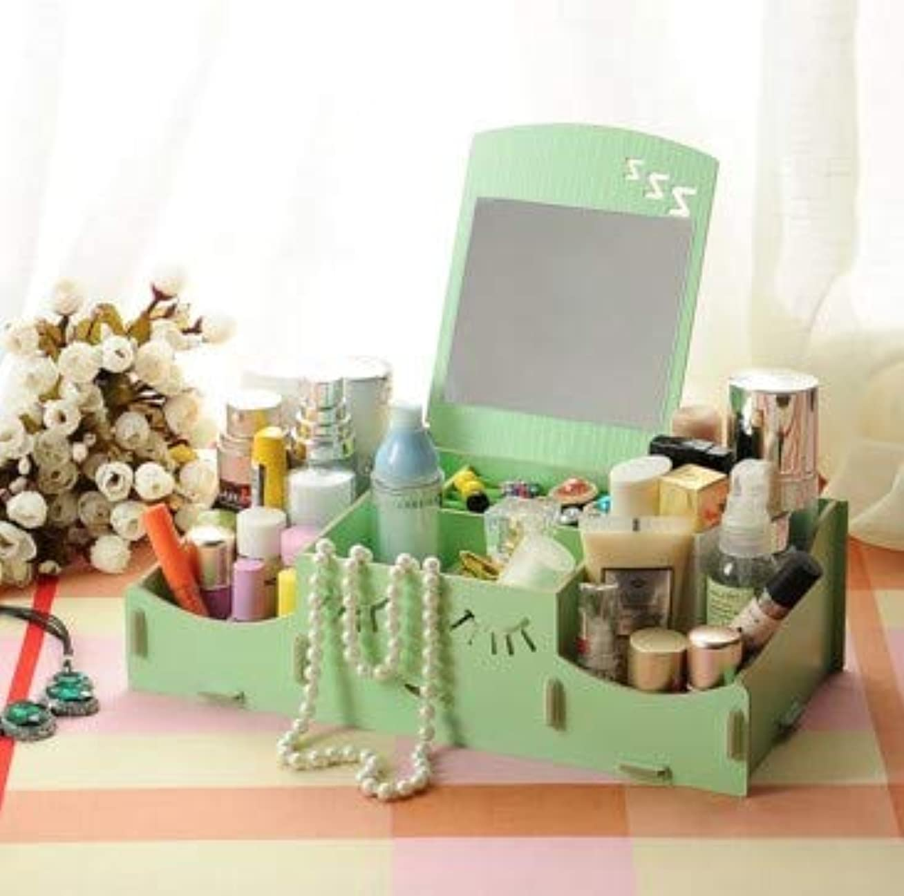 戦士シャンパン印象的なスマイリー木製クリエイティブ収納ボックス手作りデスクトップミラー化粧品収納ボックス化粧品収納ボックス (Color : グリンー)