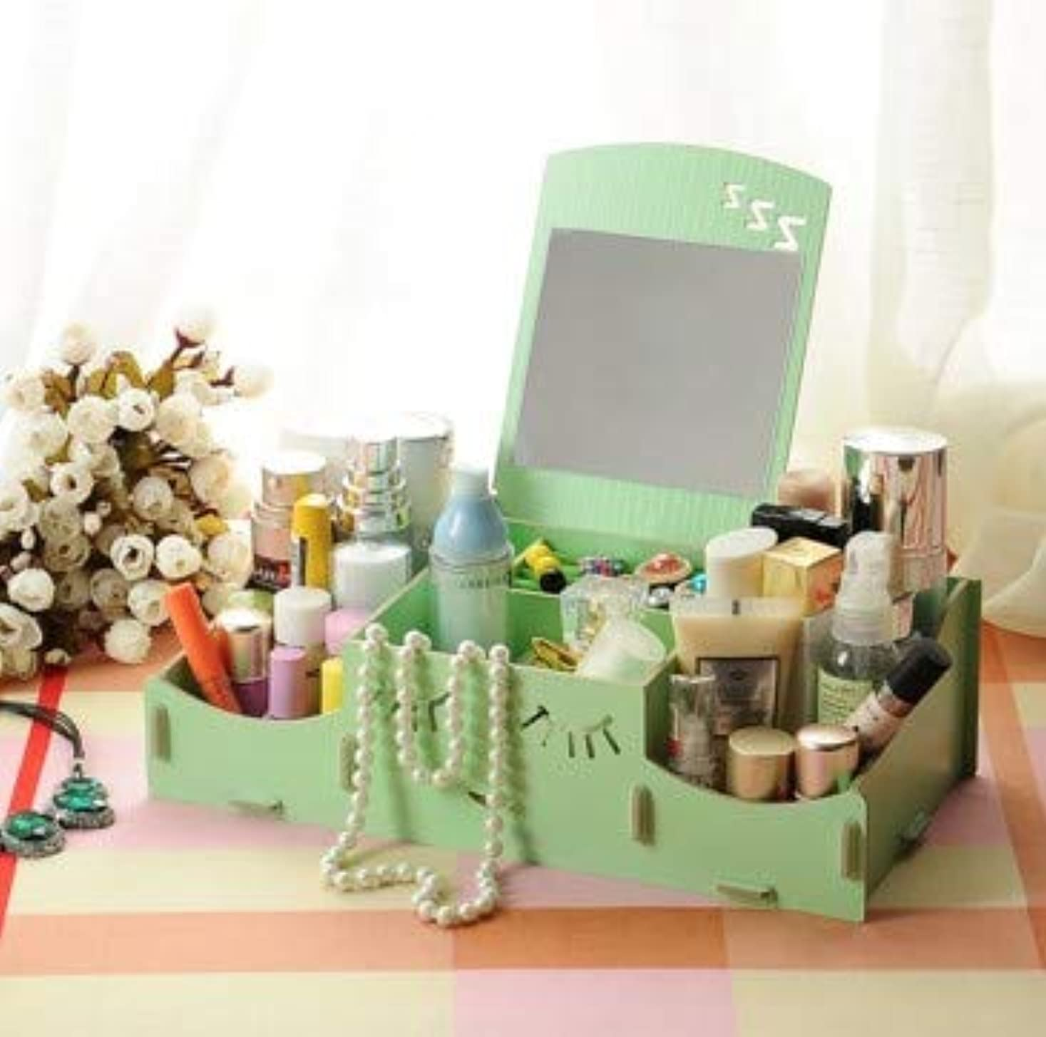 ソーダ水スイス人免疫スマイリー木製クリエイティブ収納ボックス手作りデスクトップミラー化粧品収納ボックス化粧品収納ボックス (Color : グリンー)