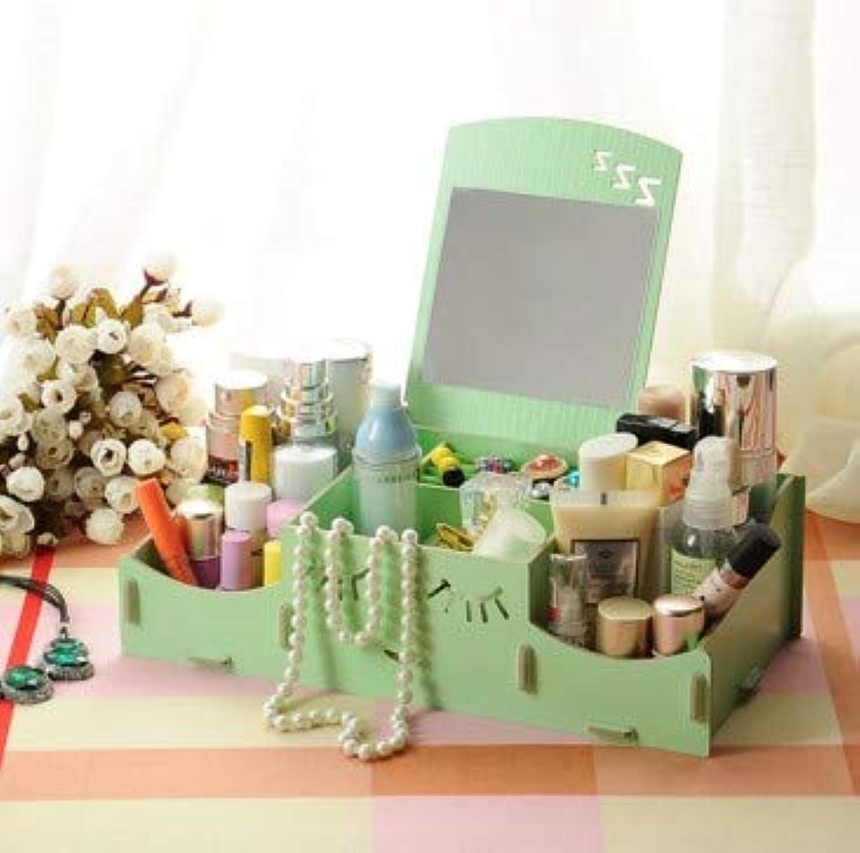 赤シンジケートメンタースマイリー木製クリエイティブ収納ボックス手作りデスクトップミラー化粧品収納ボックス化粧品収納ボックス (Color : グリンー)