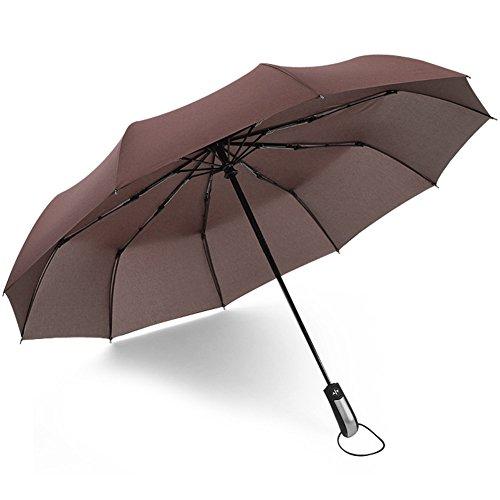(アドンルル)adunlulu自動開閉折り畳み傘トラベルアウトドア傘、片手操作用自動開け閉めボタン、撥水性 シンプル 10本骨 、持ち運びに便利 ブラウン