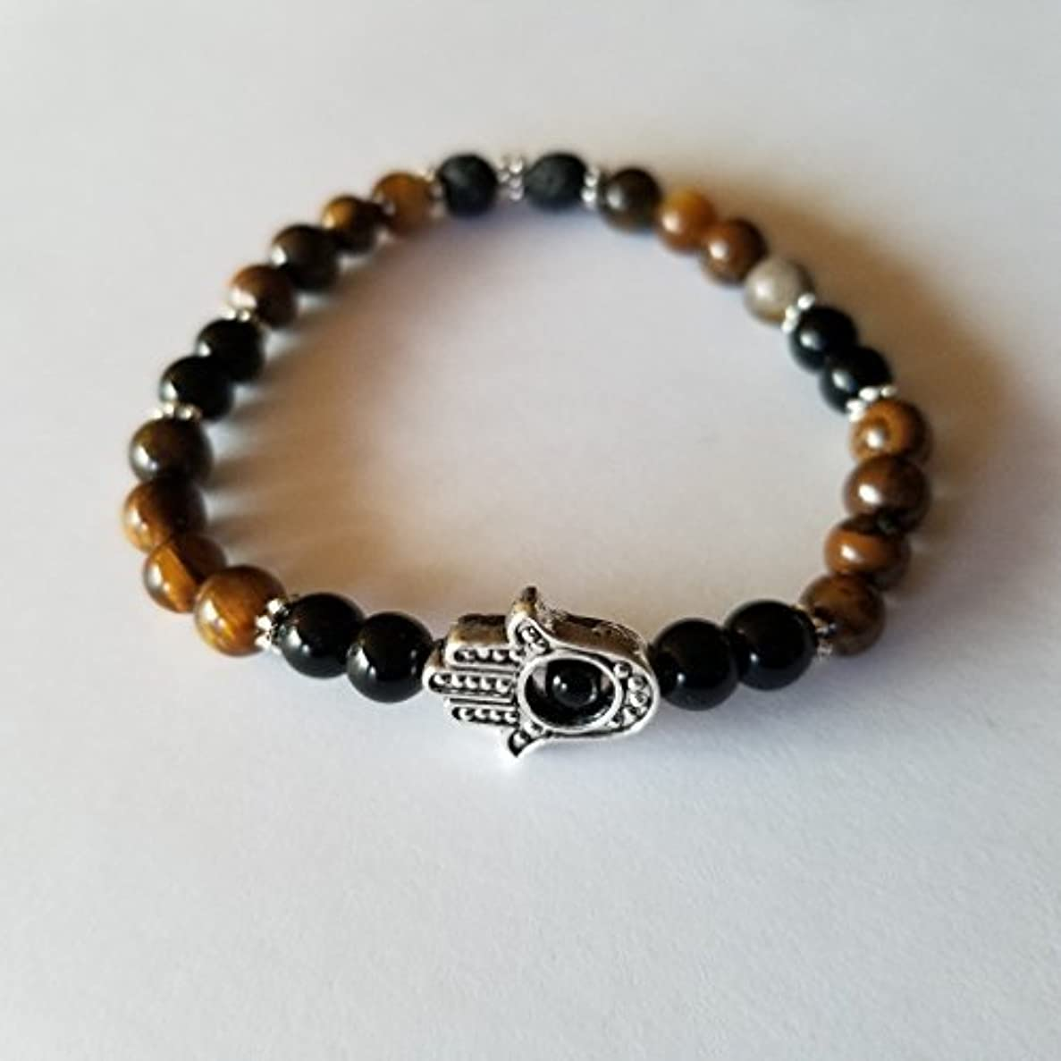 マスクホバートシーサイドHandmade Tiger's Eye Black Jasper and Black Lava Essential Oil Diffuser Bracelet featuring Hamsa Hand - 7 [並行輸入品]
