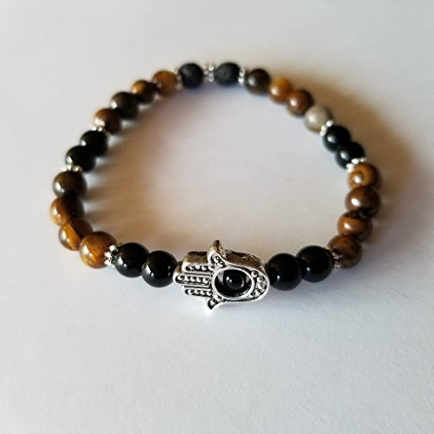 一致するテクトニック技術者Handmade Tiger's Eye Black Jasper and Black Lava Essential Oil Diffuser Bracelet featuring Hamsa Hand - 7 [並行輸入品]