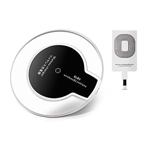 Ewin® Qi ワイヤレス充電器 置くだけ充電パッド ワイヤレスチャージャー iPhone X / 8 / 8 Plus/iphone 7/7 plus/6 plus/6/6s/5/5s/5 se /Samsung Galaxy/Nexus/Xperia その他Qi対応機種 (Qi充電器(iphone用レシーバー付き))