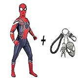 スパイダーマン衣装コスプレボディースーツスパンデックスジャンプスーツ完全な服大人子供の衣装パーティーパーティー、ワイドサイドキーホルダー付き,Man-S