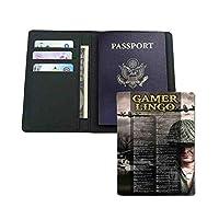 旅行財布 -家族や友人への贈り物-ゲーマーの専門用語の頭字語と専門用語ゲーム -パスポート用カバー 高級PUレザー製 多機能収納ポケット付き 海外旅行用 14.7x10cm