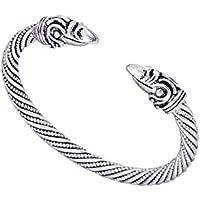 LIKGREAT Viking Odin's Raven Crow Head Twisted Bracelet Cuff Bangle for Men