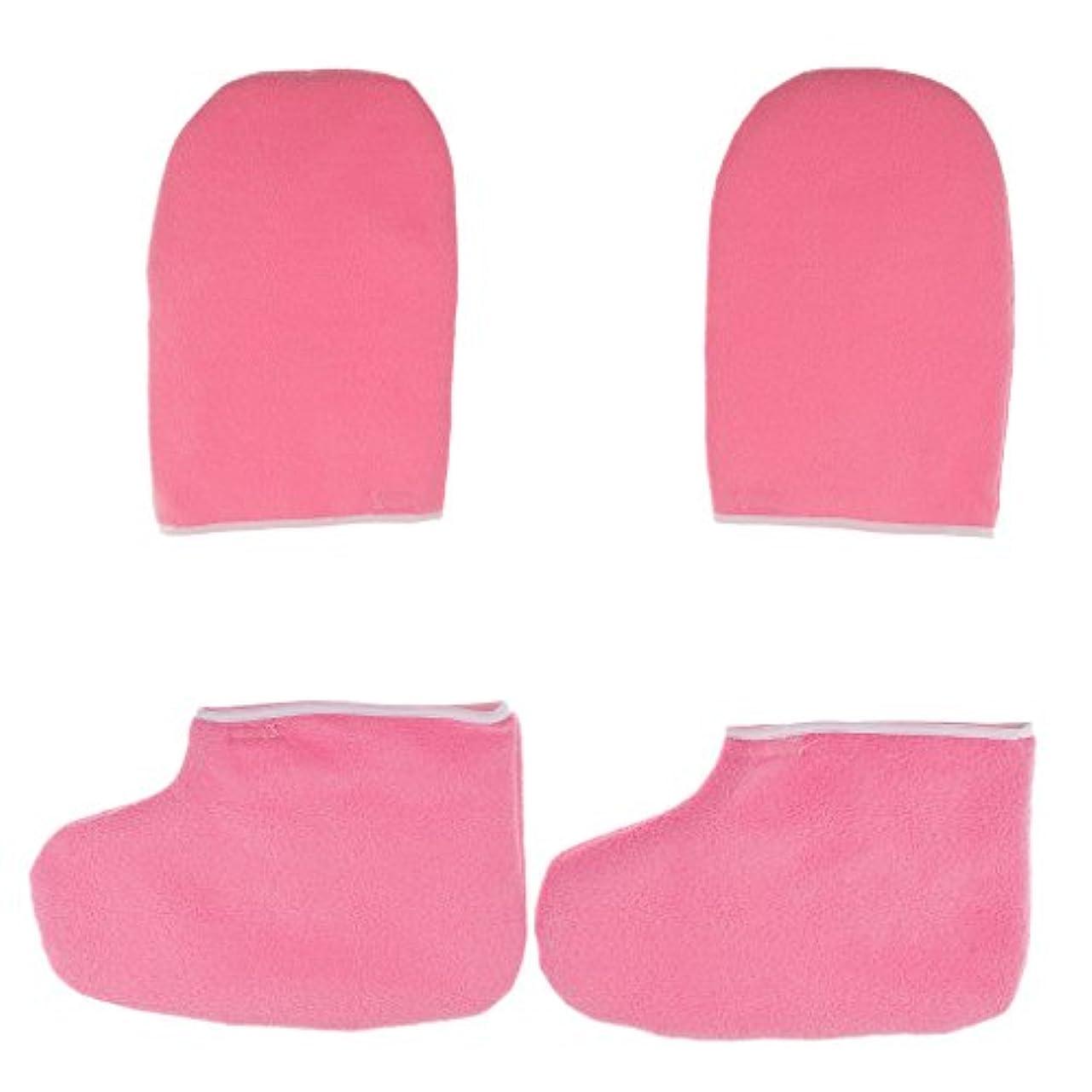 Hellery パラフィンワックスハンドバスグローブソックスハンドフットケア剥離デッドハードスキン - ピンク