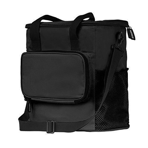 保温保冷ピクニックバッグ - Nuovoware 折りたたみ式 保温保冷ピクニックバッグ ショッピングバッグ エコバッグ ピクニック・花見・アウトドア・キャンプ・運動会用 20L (ファスナーポケット付き ) BLACK