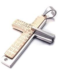 [テメゴ ジュエリー]TEMEGO Jewelry メンズステンレススチールヴィンテージペンダントゴシッククロス主の祈りのネックレス、ローズゴールデンシルバー[インポート]