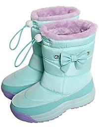 [アリサナ]arisana スノーブーツ キッズ 長靴 女の子 防寒 スパイク付き リボン ブーツ