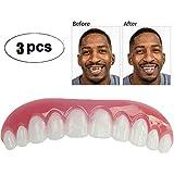 3枚の一時的な化粧品の歯入れ歯の歯の化粧品のシミュレーションの上部の袖口、白くなる歯のスナップの帽子の即刻の慰めの柔らかい完全なベニヤ