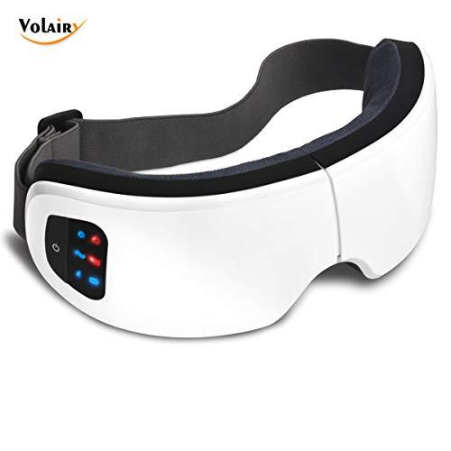 目元マッサージャー Volairy アイマッサージャー ホットアイマスク マッサージ 目元エステ USB充電式 180度2つ折り 温熱 + 音楽機能