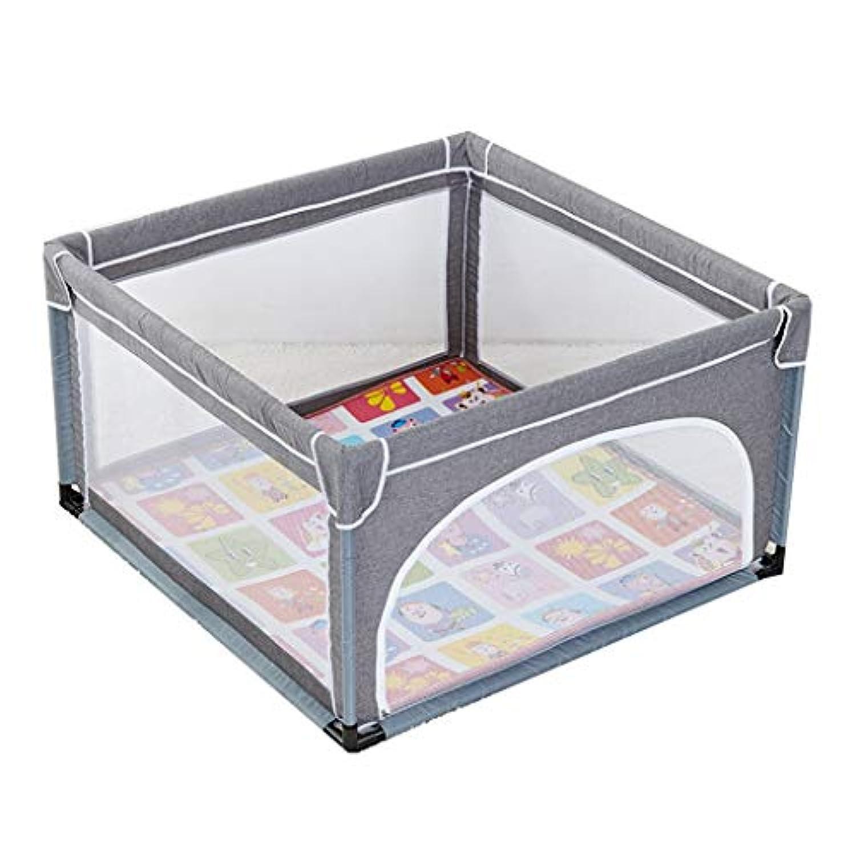 赤ちゃんの遊び場、パッドクッション付き、屋内屋外の安定した子供幼児子供の遊び場ヘビーデューティーフェンス、120×120×70cm (色 : Gray)