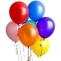 25CM 誕生日 飾り付け 風船 光沢 バルーン 約100個+結びリボン+壁貼り両面シール、JPX2