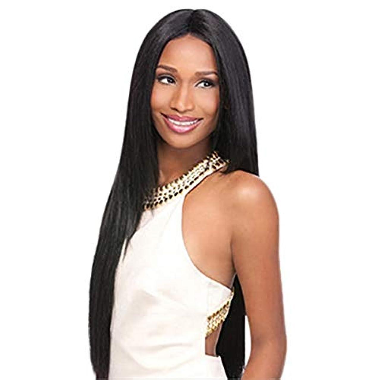 招待スローガン臭い完全なかつら80CMをしている女性の黒い長いストレートの髪のかつらの役割