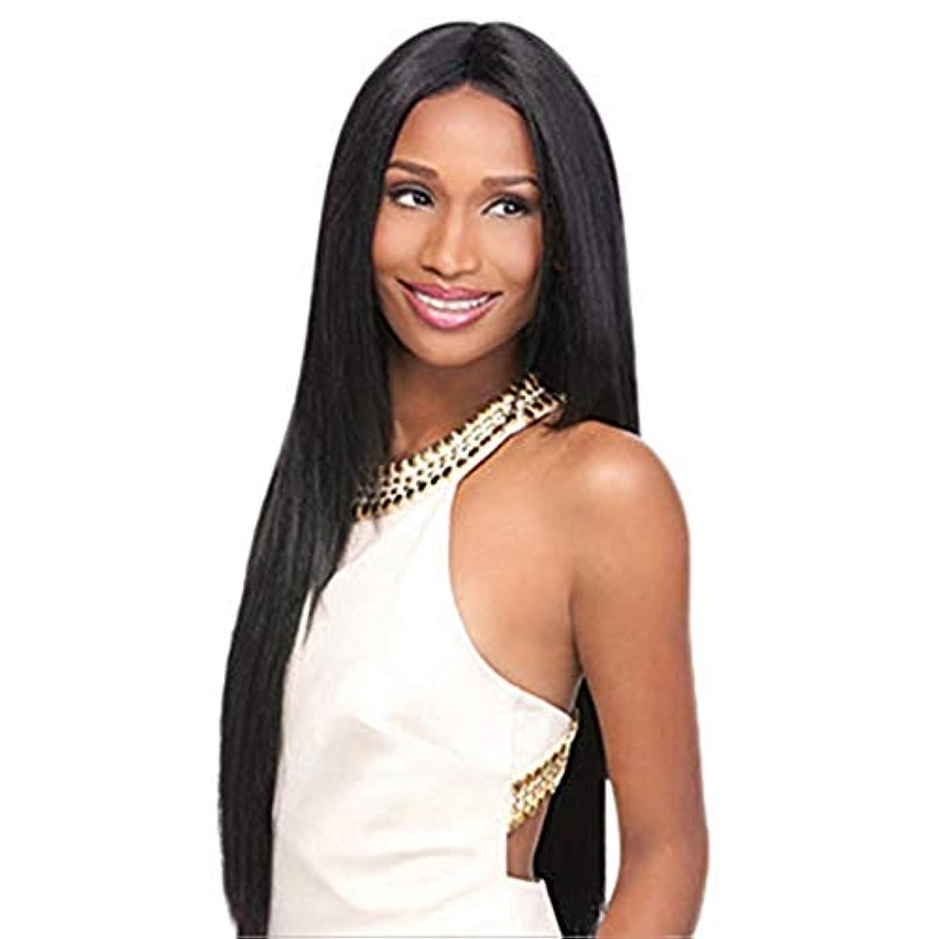 自由最後の前提完全なかつら80CMをしている女性の黒い長いストレートの髪のかつらの役割