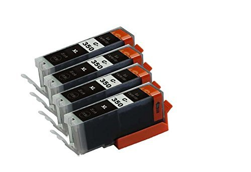 【Ecolink】Canon キヤノン BCI-350XLPGBK 増量版 ブラック 顔料 単品4個セット ICチップ付き BCI-351XL+350XL/6MP & BCI-351XL+350XL/5MP 対応 互換インクカートリッジ
