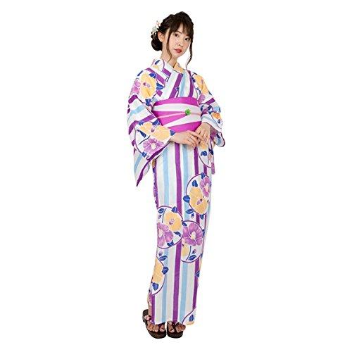 ゆかた屋hiyori 特選平織り浴衣-紫縦縞に丸椿 レディース 浴衣・帯・下駄3点セット