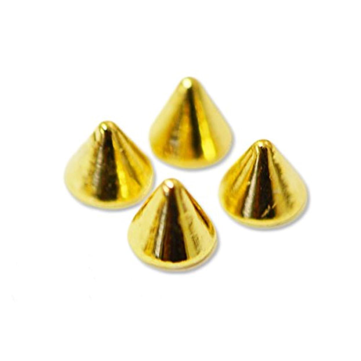 蓮抜け目がない接続詞ジュエリーメタルパーツ ロックスタッズ 円錐形(コーン)の鋲 : 4個入り ゴールド 直径3mm×高さ2mm