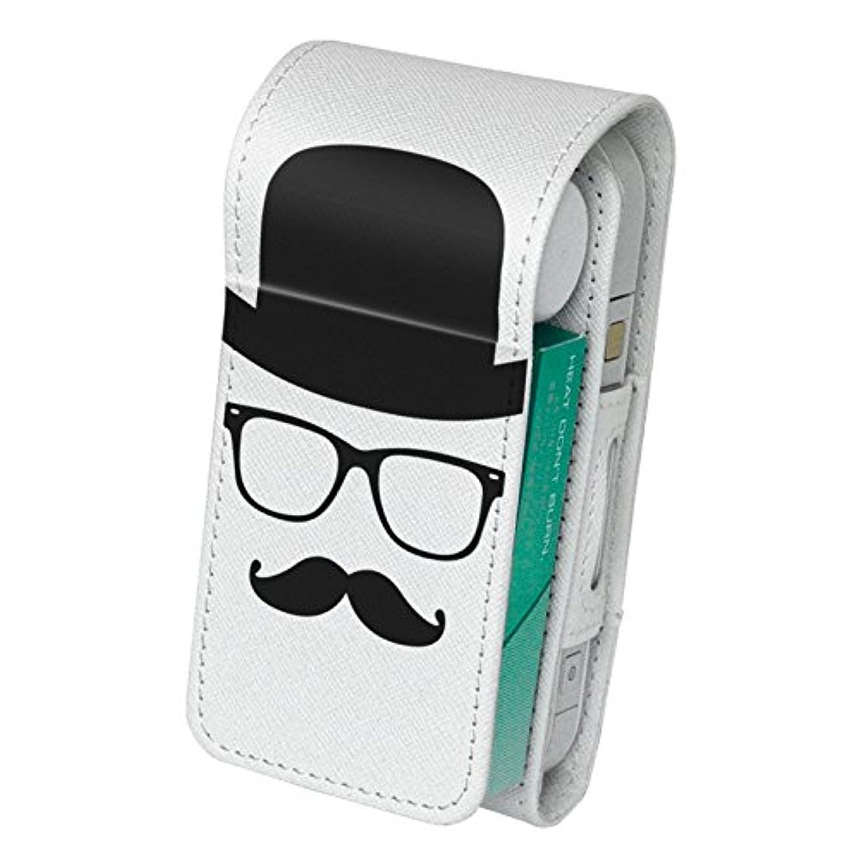 逆に対応する脈拍スマコレ IQOS専用 レザーケース 【従来型/新型 2.4PLUS 両対応】 専用 ケース カバー 合皮 カバー 収納 ユニーク 帽子 眼鏡 ひげ 005927