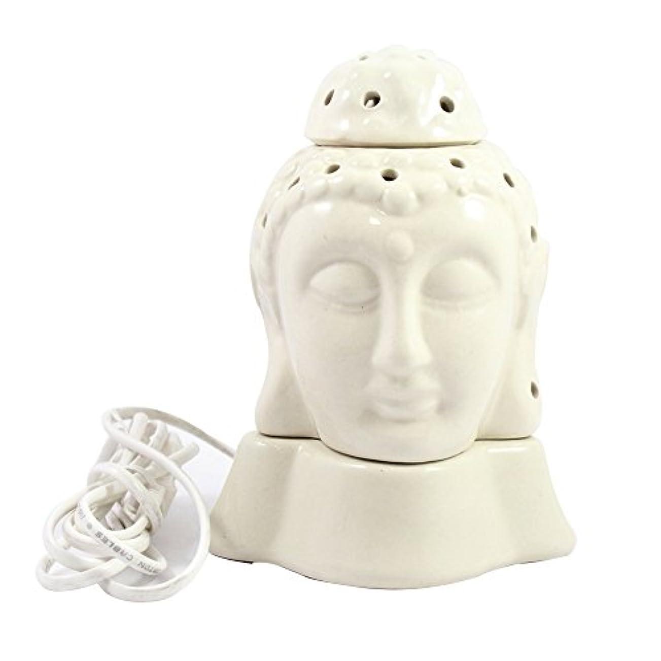 フィクション事適応Gautama Buddha電気アロマオイルバーナー&ティーライトランプ/良質ホワイトカラー数量1 /汚染無料手作りセラミック主仏電気T - ライトランプ&香油ディフューザー