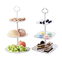 2 Set of 3-Tier Cake Stand and Fruit Plate Cupcake Plastic Stand White for Cakes Desserts Fruits Candy Buffet Stand for Wedding & Home & Birthday Party Serving Platter
