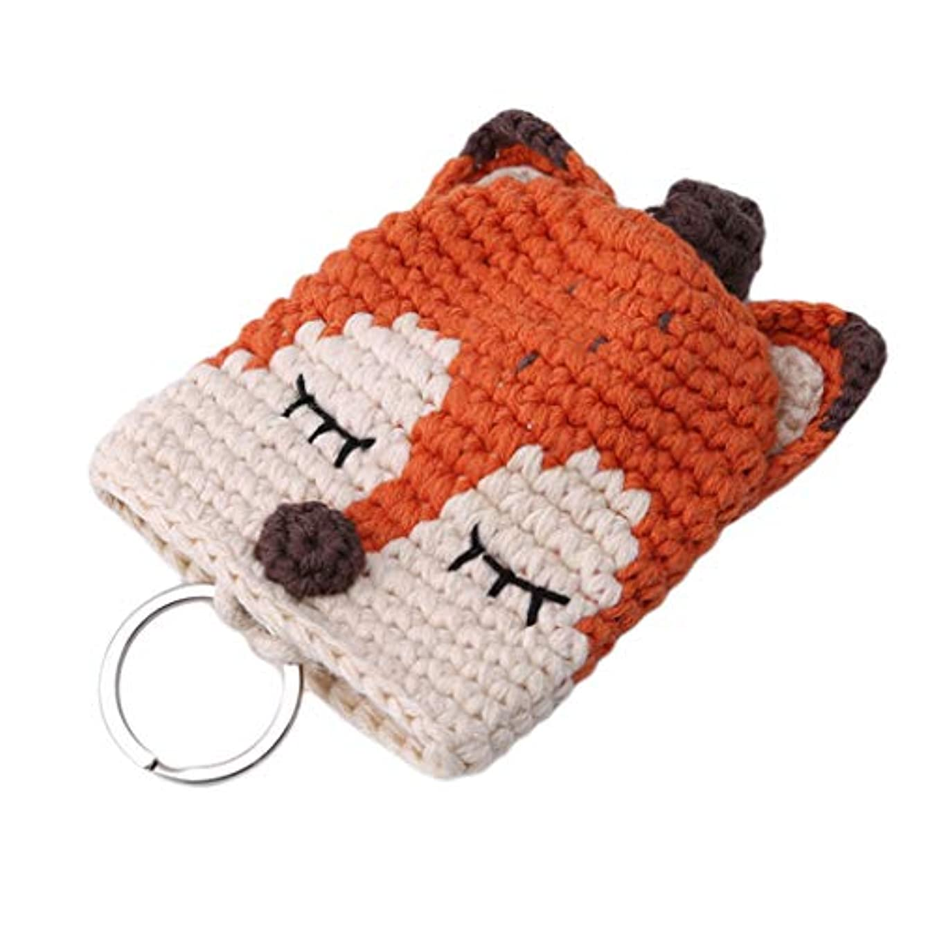 収益ベル仮定、想定。推測Timesuper 手編み キーケース コインバッグ 引きのタイプ 取り外し可能なキーケース 学生はお互いに贈り物をする 卒業プレゼント 贈り物 (キツネ)