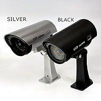 赤色LEDが常時点灯!本物にしか見えません!CCDダミー防犯カメラ(ブラック)