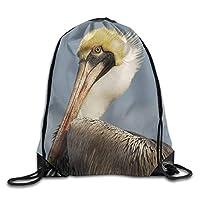 素晴らしい鳥ペリカンジム巾着バックパックユニセックスポータブルサックバッグ43 x 36 cm