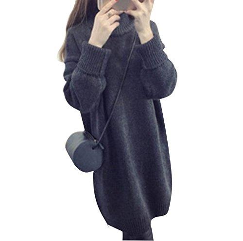 MOGU(JP) レディーズファション ワンピース セーター ニット 無地 シンプル 大人可愛い ゆったり 長袖 秋冬 体型カバー ダークグレーフリー